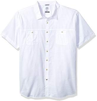 Izod Men's Size Big and Tall Saltwater Chambray Solid Short Sleeve Shirt