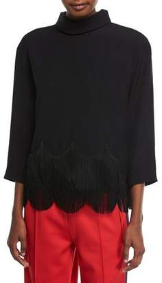 Marc Jacobs High-Collar 3/4-Sleeves Crepe Top with Fringe