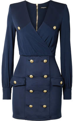 Balmain Button-embellished Wrap-effect Crepe De Chine And Satin-twill Mini Dress - Storm blue