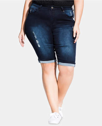 7d6ab22316e3f City Chic Trendy Plus Size Cuffed Jean Shorts