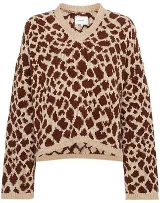 Fendi Nanushka Jamel V-Neck Giraffe Intarsia Cotton Blend Jumper