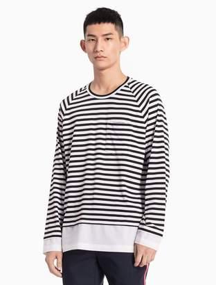 Calvin Klein striped cotton knit extended shirt