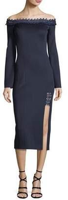 Galvan Aguafina Off-the-Shoulder Textured Cocktail Dress w/ Crochet Trim