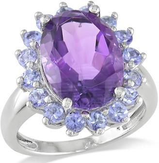 Sterling Silver 5.90 cttw Amethyst & Tanzanite Ring