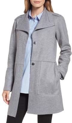 Kenneth Cole New York Envelope Collar Wool Blend Knit Coat