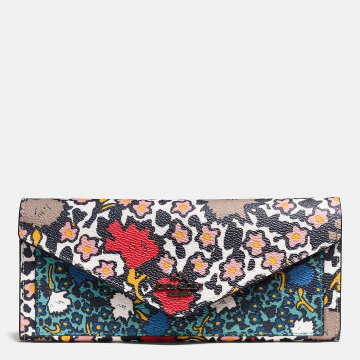 Coach  COACH Coach Soft Wallet In Mixed Yankee Floral Print Canvas