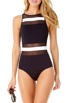 Anne Cole Women's Mesh High Neck One Piece Swimsuit, Color Block Black/White