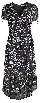 Parker Women's Floral Ruched Short-Sleeve Midi Dress