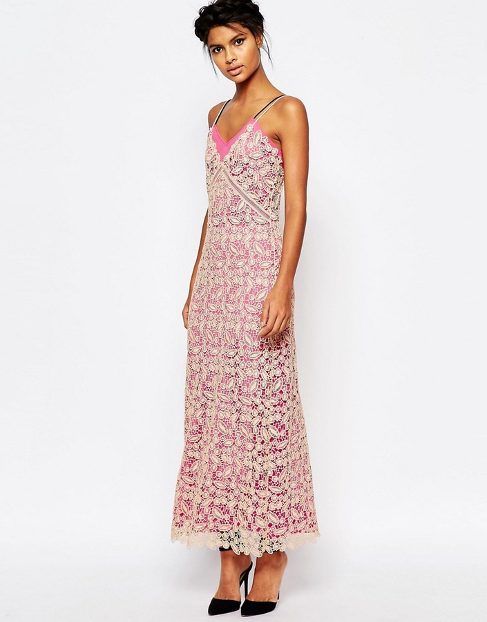 Self Portrait Lace Shell Maxi Slip Dress with Pink Lining