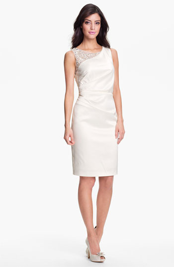 Eliza J Embellished Ruched Sheath Dress