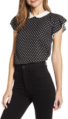 CeCe Heirloom Polka Dot Blouse