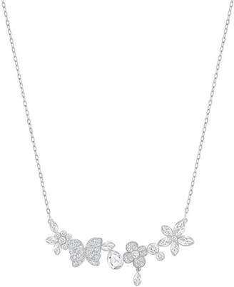 Swarovski Eden Pave Crystal Floral Station Necklace