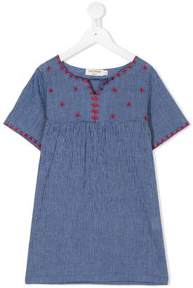 Nice Things embroidered small-check dress