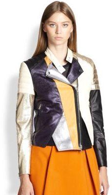 3.1 Phillip Lim Colorblock Leather Biker Jacket
