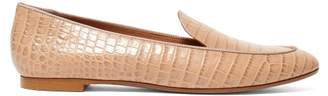 Aquazzura Purist Crocodile Effect Leather Loafers - Womens - Nude