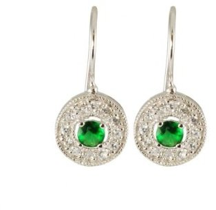Sterling Silver Green Cubic Zirconia Round Earrings