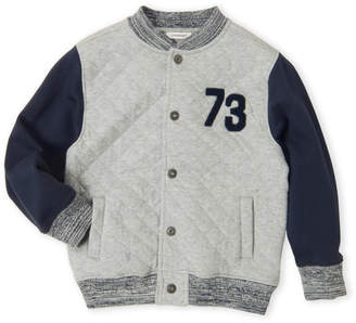 3 Pommes Boys 4-7) Grey Diamond Quilted Bomber Jacket