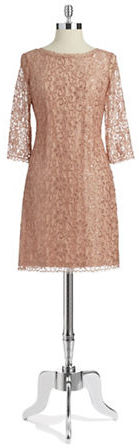 Ivanka Trump Long Sleeved Floral Lace Overlay Dress