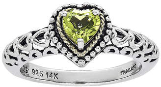 Couture FINE JEWELRY Shey Genuine Peridot 14K Gold Over Sterling Silver Heart Stone Ring