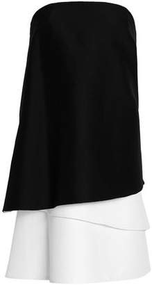 Halston Strapless Draped Cotton And Silk-Blend Top