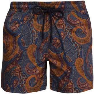 Etro Paisley Print Swim Shorts - Mens - Brown Multi