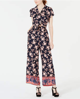 Be Bop Juniors' Printed Tie-Front Jumpsuit