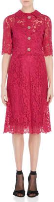 Dolce & Gabbana Daisy Button Lace Shirt Midi Dress