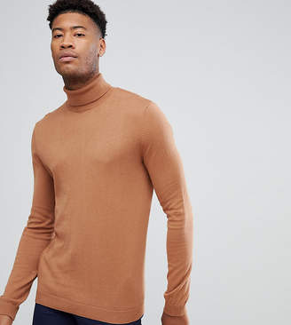 Asos TALL Cotton Roll Neck Sweater In Rust
