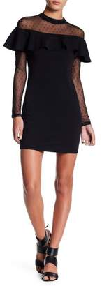Just For Wraps Dot Illusion Mesh Trimmed Dress