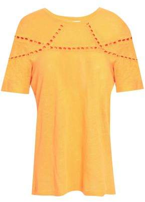 Maje Crochet-trimmed Slub Linen-jersey T-shirt