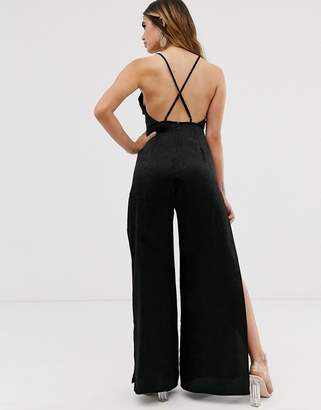 Asos Design DESIGN cami strap satin jumpsuit with wide leg and splits