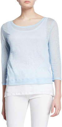 0b7853d7f Majestic Boat-Neck 3/4-Sleeve Double Layer Linen Tee