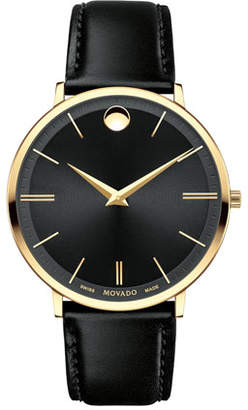 Movado 40mm Ultra Slim Watch, Black $695 thestylecure.com