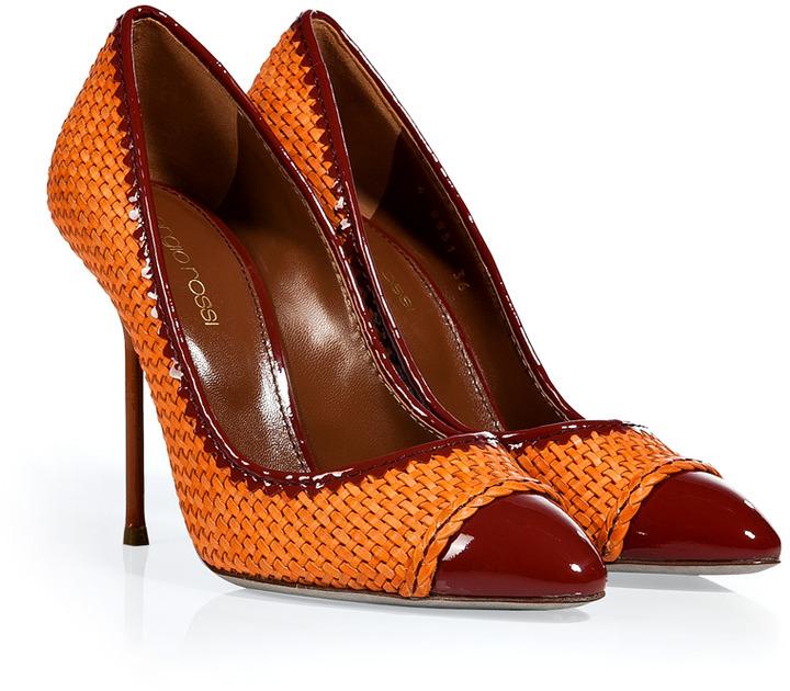 Sergio Rossi Mandarin/Paprika Woven Leather Cap Toe Stilettos