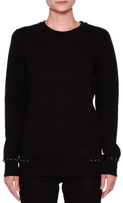 Valentino Rockstud-Trim Cotton Sweatshirt, Black