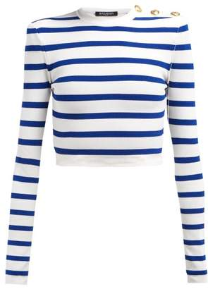 Balmain Striped Cropped Top - Womens - Blue White