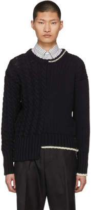 Thom Browne Navy Half and Half Aran Crewneck Pullover