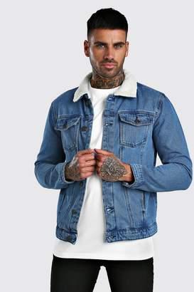 boohoo Borg Collar Regular Denim Jacket