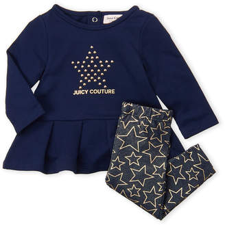 Juicy Couture Newborn Girls) Two-Piece Star Top & Printed Legging Set