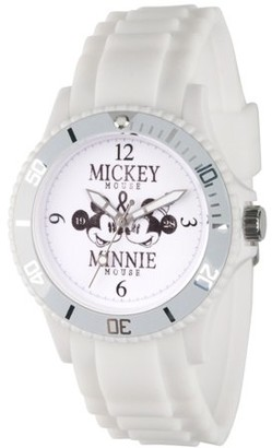 Disney Mickey Mouse and Minnie Mouse Women's White Plastic Watch, Red Bezel, White Plastic Strap