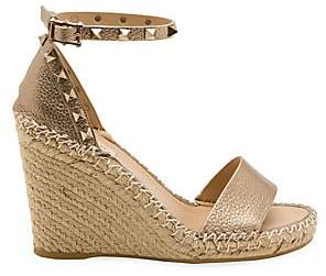 Valentino Garavani Women's Rockstud Metallic Leather Espadrille Wedge Sandals