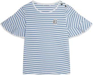 Chloé Striped Ruffle Sleeve T-Shirt
