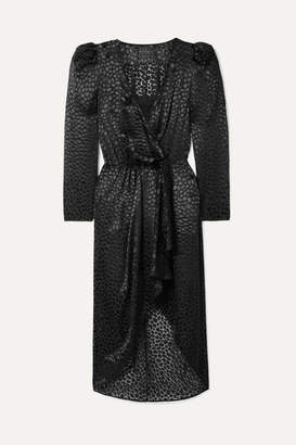 Dundas Fil Coupé Chiffon Wrap Dress - Black