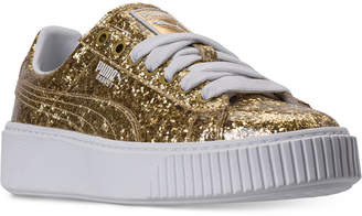 Puma Women's Basket Platform Glitter Casual Sneakers from Finish Line