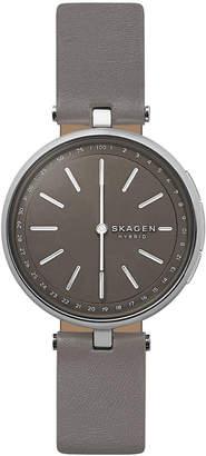 Skagen Women's Signatur T-Bar Gray Leather Strap Hybrid Smart Watch 36mm