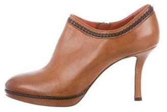 Santoni Leather Round-Toe Booties