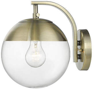 clear GOLDEN LIGHTING Dixon Sconce in Aged Brass with Glass