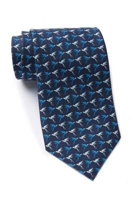 Thomas Pink Parrot Print Silk Tie