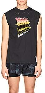 "Satisfy Men's ""Marathon Man"" Distressed Cotton Muscle T-Shirt - Black"