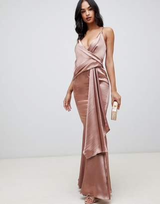 Asos Design DESIGN maxi dress in high shine satin with drape side and fishtail hem